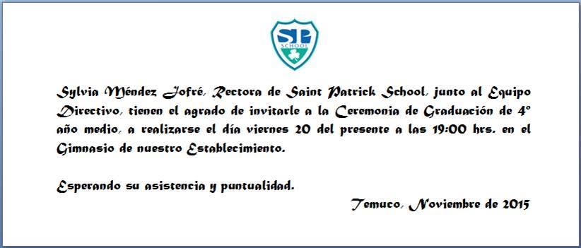 Invitación A Ceremonia De Graduación 4tos Medios Saint